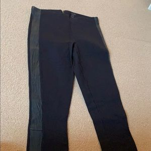 Black JCrew leggings with leather stripe up sides